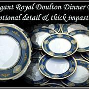 12 Royal Doulton Service Plates Ornate Impasto Gold Decoration 1950s