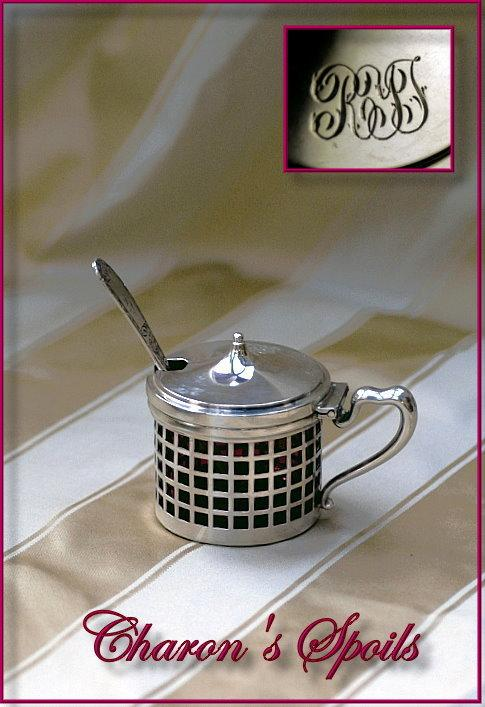Antique Sterling Silver Lidded Mustard Cranberry Glass Liner