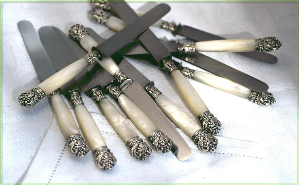12 Exquisite Rare Antique French Silver Mother of Pearl Knife Set