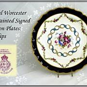 Antique Royal Worcester HP Dessert Plates: E Phillips Signed!