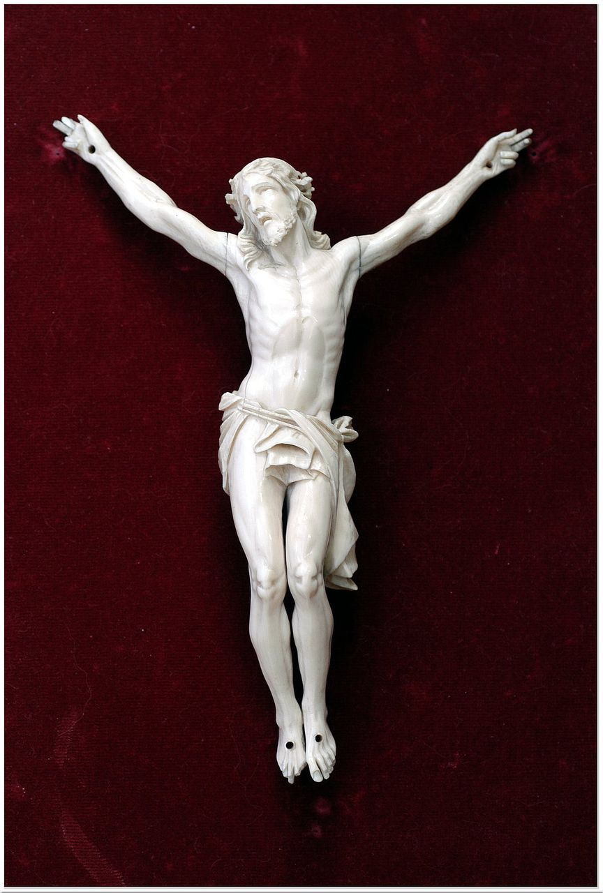 Antique Carved Ivory Christ Crucifix & Altar Frame Exceptional Carving