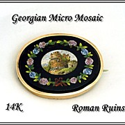 Antique 14k Gold Cased Micro Mosaic Brooch: Tomb of Cecilia Metella