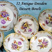 Antique Dresden Dessert Bowls Set of 11 HP Gilt Hirsch