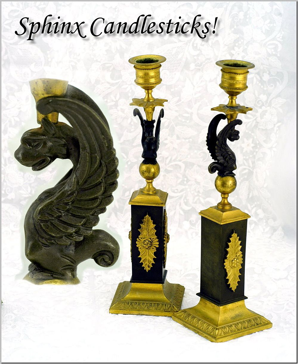 Antique French Pair Bronze Candle Sticks Sphinx Motifs!
