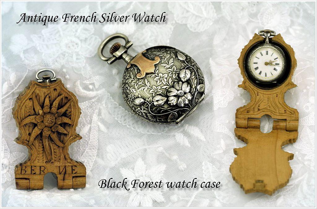 Charming Antique French Silver & Vermeil Watch w Black Forest Watch Holder