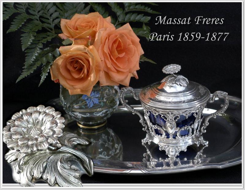 Antique French Sterling Cobalt Crystal Lidded Sugar Bowl 1864