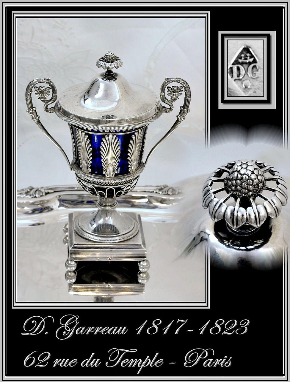 Antique French Sterling & Cobalt Confiturier, Sugar: Garreau