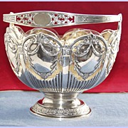 Austrian19th century silver bowl with swing handle and rich scrolling foliage decoration