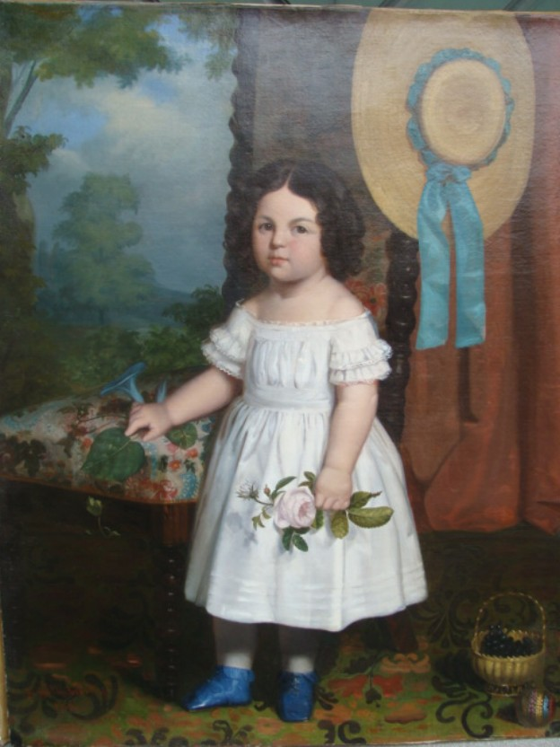 Painting of a little girl in a white dress with a rose by J.Golinbiesky 1846