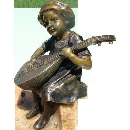 Antique Vienna Bronze mandolin player on an Alabaster base