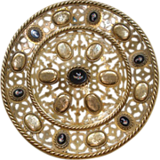 Antique French Gilt Bronze plate with seven Roman Micro Mosaics