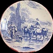 Lovely blue and white plate by Delfts Boch Frères La Louvière Belgium