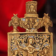 Antique Russian Brass and enamel Icon depicting the Holy Virgin, 19th century