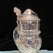 Fine antique lead crystal pitcher with fine engraving,19th century