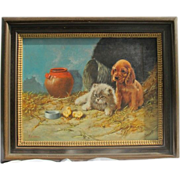 Painting of a dog and a cat looking at chickens, oil on canvas by Enrico Cerrone born in Naples 1935