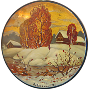 Russian Round Vintage Russian Lacquer box,signed and dated  1988