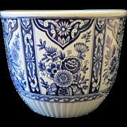Royal Sphinx pottery flower pot in Delft design, ca.1900