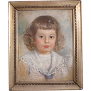 Chalk drawing of a little boy, signed and dated 1905