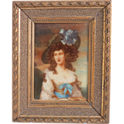 Miniature porcelain painting of a young lady, late 19th century