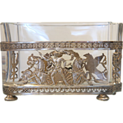 Antique French silver plated jardiniere with crystal glass insert, dated ca.1880