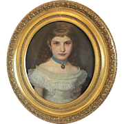 Antique painting of a young girl in a white dress, oil on canvas, late 19th century