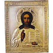 Antique Russian Icon depicting Christ Pantocrator,19th century