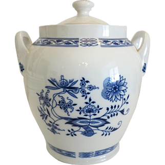 Blue and white hand painted porcelain jar, marked Czechoslovakia, ca. 1940