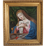 Antique painting of the Madonna, oil on copper, 19th century