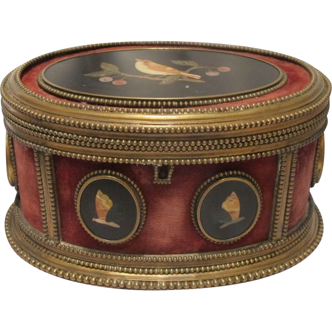 A Florentine gilt brass and Pietra Dura mounted oval casket, 19th century
