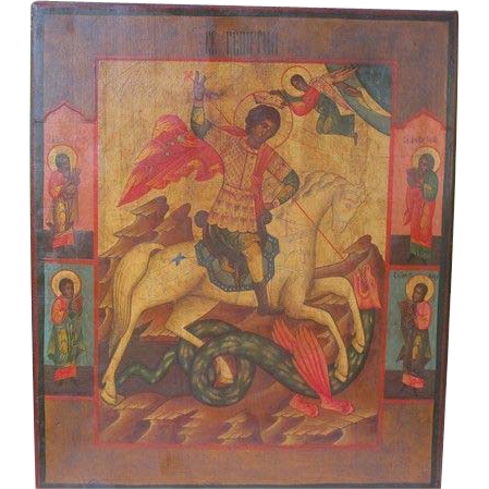 """Antique Russian Icon depicting """"St. George the Warrior"""", 19th century"""