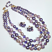 Vendome Three Strand Necklace & Earrings, Purple, Lavender, Beaded, Beads, AB