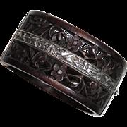 "Ornate Chinese Export Bracelet, Engraved Silver, Carved Teak Wood, 1.5"" Hinged Bangle"