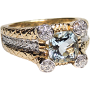 14k Cushion Cut Aquamarine & Pave Diamond Ring, 14kt Yellow Gold, size 7