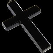 "Victorian Black Onyx Cross Pendant, 2.75"" Beveled Edges, Silver Bale, Christian, Catholic, Religious"