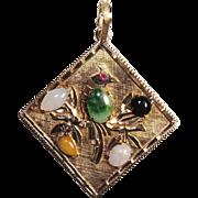 14K Double Sided Pendant, Jade Bird & Mt Fuji, 12.4 grams, Enhancer, Charm, Vintage, Japanese, Japan