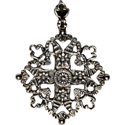 Signed F. LLI Peruzzi Sterling Silver Pendant, Cross, Flowers, Hearts, Made in Italy, Necklace