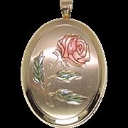 14K Photo Locket Pendant, Enamel Rose, Yellow Gold, Necklace