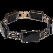 Art Deco Sterling, Onyx & Marcasite Bracelet, Germany, German