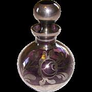 Art Nouveau Amethyst Silver Overlay Perfume Bottle