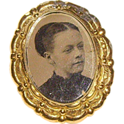 Victorian Memorial Portrait Gold-Filled Brooch