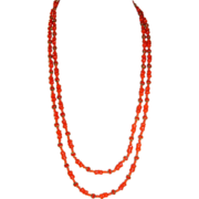 Extra Long Miriam Haskell Lipstick Red Glass Bead Necklace