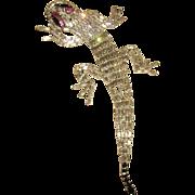 HUGE Weiss Articulated Rhinestone Lizard Brooch 7.5 inches!