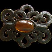 Large Hattie Carnegie Black Metal with Cabochon Stone Brooch