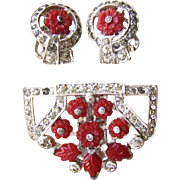 "Art Deco ""Fruit Salad"" Dress Clip & Earrings Red Glass Flower & Rhinestone S"