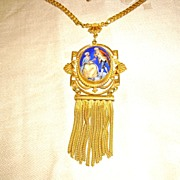 Victorian Gold Filled Necklace w/ Czech Porcelain and Tassel