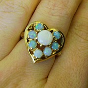 Opal and 14K Gold Heart Shaped Ring Size 7
