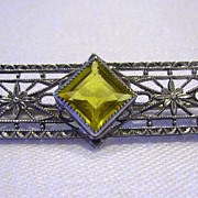 Art Deco Sterling Filigree Pin with Faceted Yellow Glass Stone