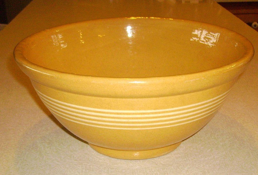EARLY Large Yelloware Stoneware Bowl w/ 5 Narrow White Bands