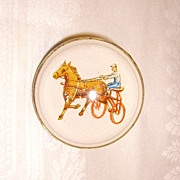 Vintage Horse Bridle Rosette w/ Horse & Jockey White Background