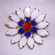 Vintage Red, White & Blue Opaque Rhinestone Flower Pin